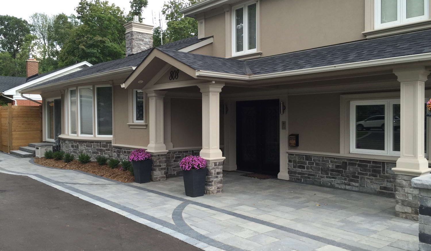 stone siding and stucco