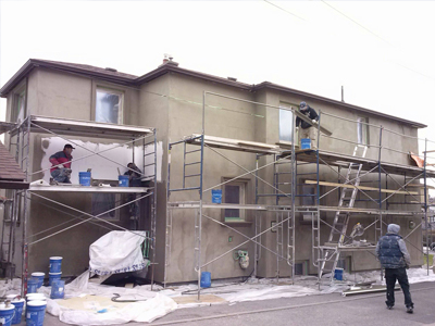 in progress of exterior stucco