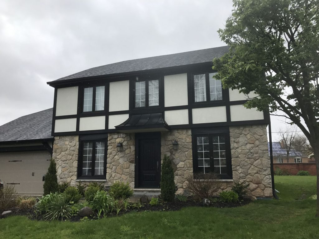 stone siding first floor, stucco on second floor exterior decor, Richmond Hill